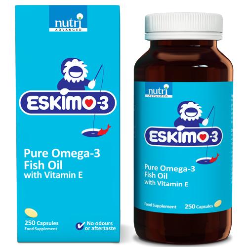 Eskimo 3 pure omega 3 fish oil with vitamin e 250 capsules for Fish oil vitamin e